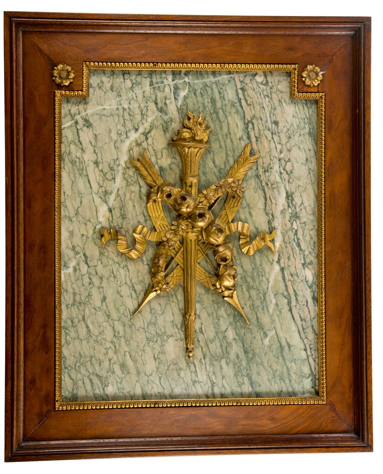 Empire Pair of Ormolu and Turquin Grey Marble Wall Mahogany Framed Armorial Plaques For Sale