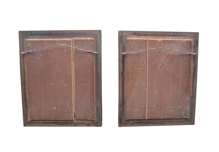Hand-Carved Pair of Ormolu and Turquin Grey Marble Wall Mahogany Framed Armorial Plaques For Sale