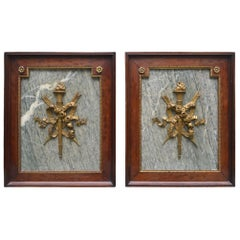 Pair of Ormolu and Turquin Grey Marble Wall Mahogany Framed Armorial Plaques