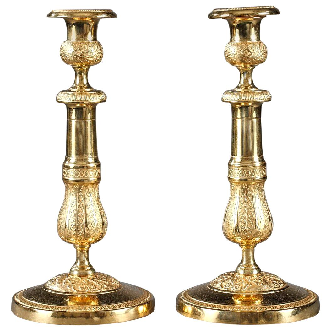 Pair of Ormolu Candlesticks with Palmettes and Flowers
