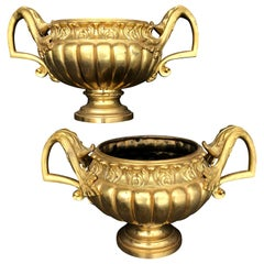 Pair of Ormolu Gilt Urns or Garden Planters