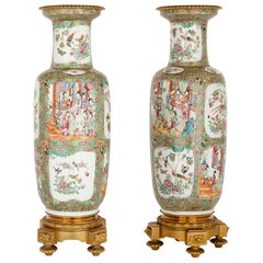 Pair of Ormolu-Mounted Canton Porcelain Vases