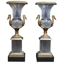 Pair of Ormolu Mounted Crystal Urns, French