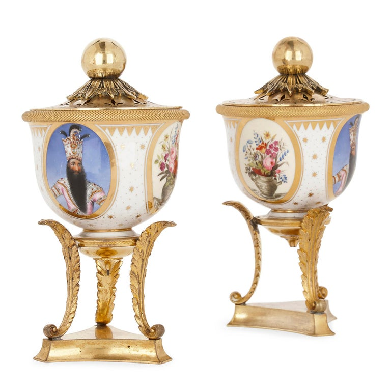 Produced by Royal Worcester, under the famed Flight, Barr & Barr partnership, this pair of porcelain tea bowls, transformed into potpourri vases by the later addition of a gilt bronze lid and stand, date to circa 1820 and demonstrate the very finest