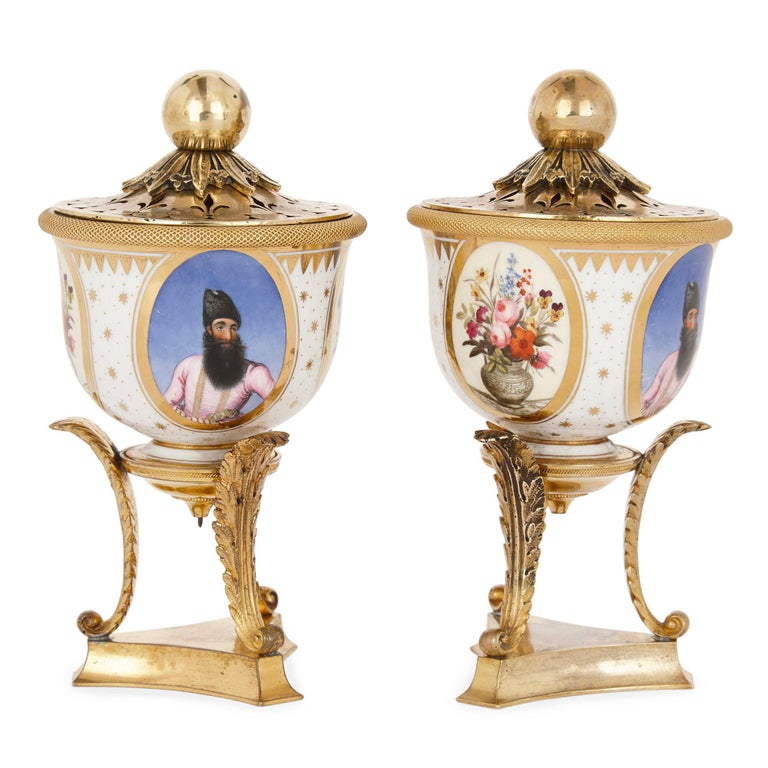George IV Pair of Ormolu Mounted Flight, Barr & Barr Porcelain Bowls of Persian Interest For Sale