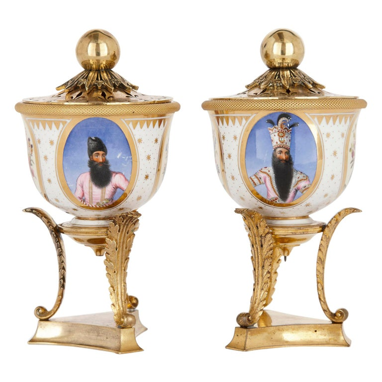 Pair of Ormolu Mounted Flight, Barr & Barr Porcelain Bowls of Persian Interest For Sale