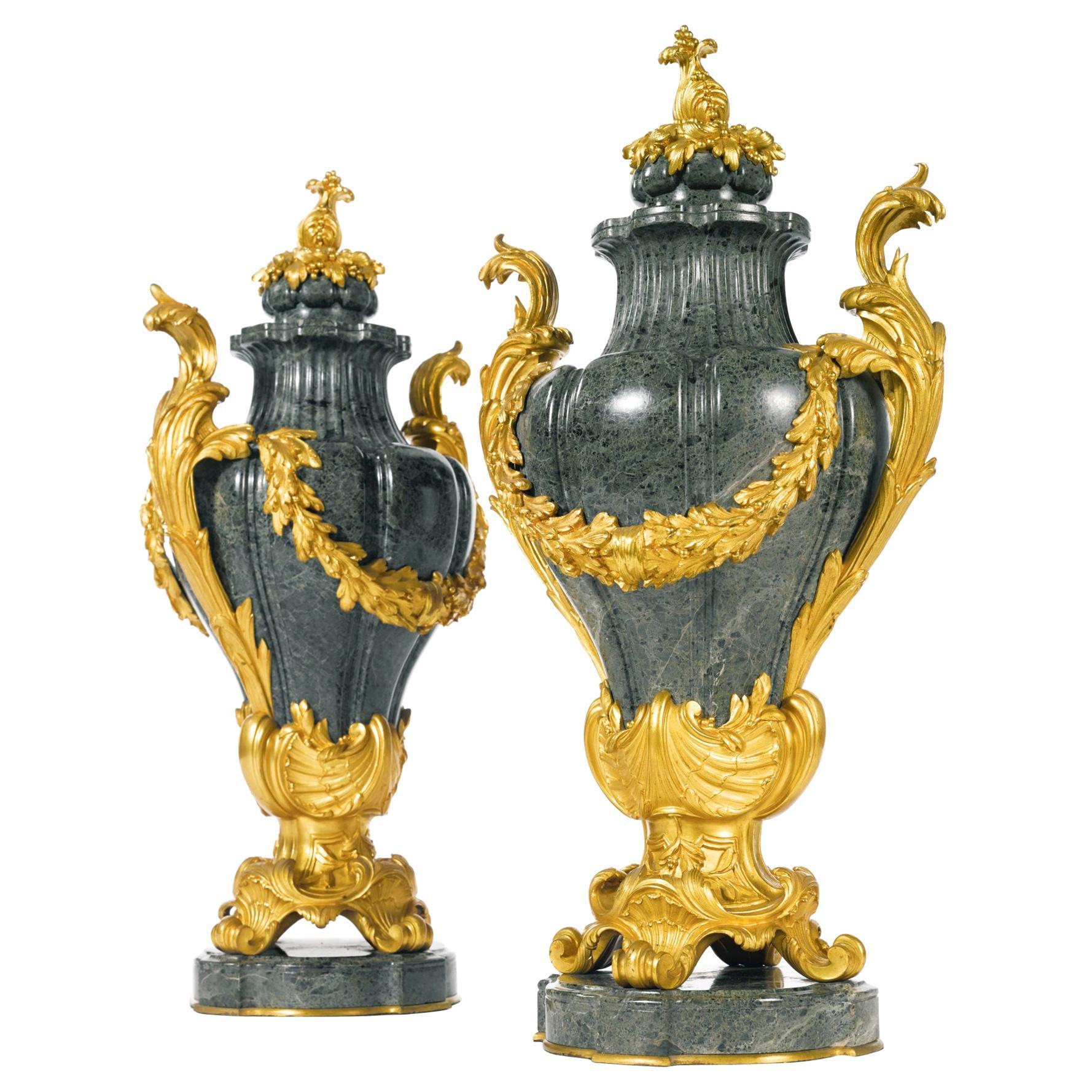 Pair of Ormolu-Mounted Green Marble Urns by Barbedienne