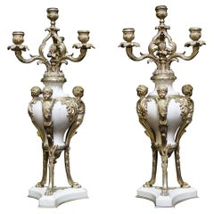 Pair of Ormolu Mounted Marble Candelabras, 19C French
