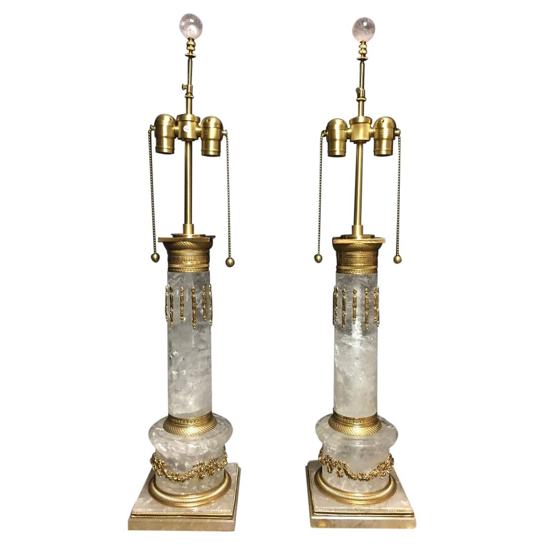Pair of Ormolu Mounted Rock Crystal Columnar Lamps