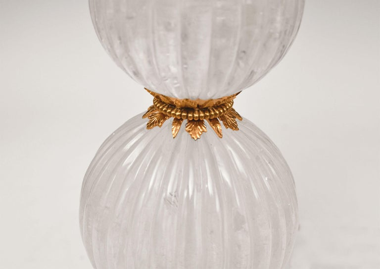 Pair of Ormolu-Mounted Rock Crystal Lamps In Excellent Condition For Sale In New York, NY