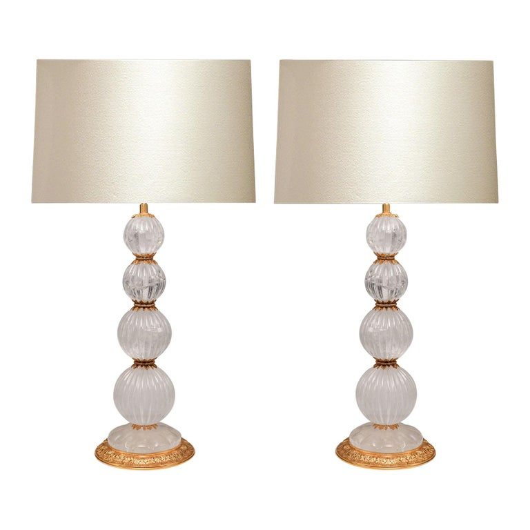 Pair of Ormolu-Mounted Rock Crystal Lamps For Sale