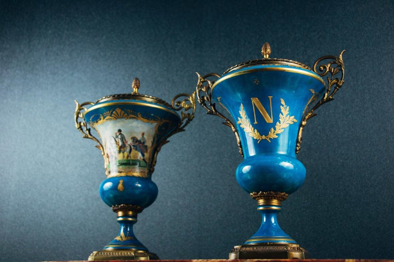 Napoleon III Pair of Ormolu-Mounted Sevres Style Porcelain Vases For Sale