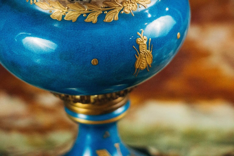 European Pair of Ormolu-Mounted Sevres Style Porcelain Vases For Sale