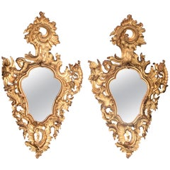 Pair of Ornamental Mirrors, Giltwood, Roccoco, 18th Century