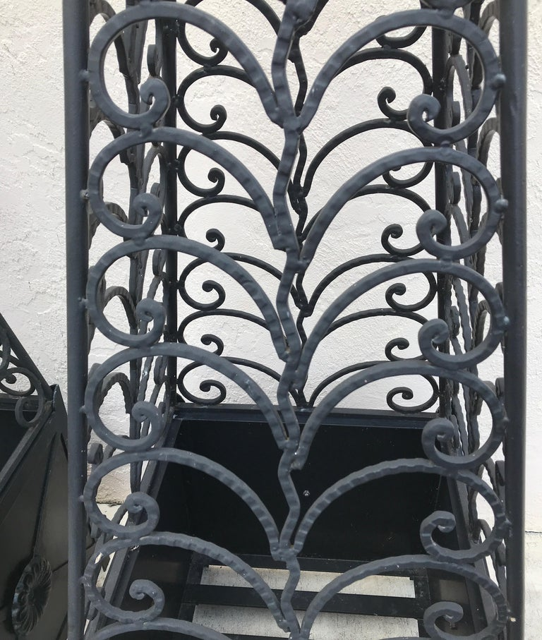 Iron Pair of Ornamental Neoclassical French Garden Obelisks For Sale