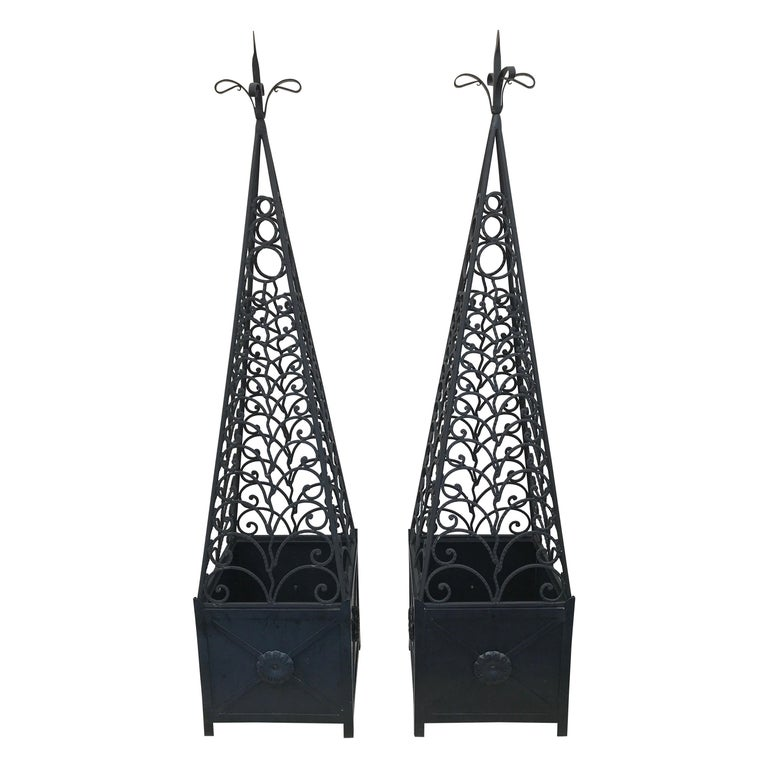 Pair of Ornamental Neoclassical French Garden Obelisks For Sale
