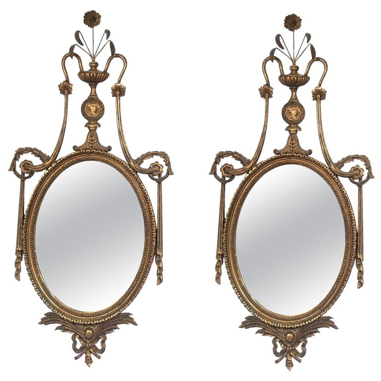 Pair Of Ornate 1940s Gilt Mirrors For Sale At 1stdibs