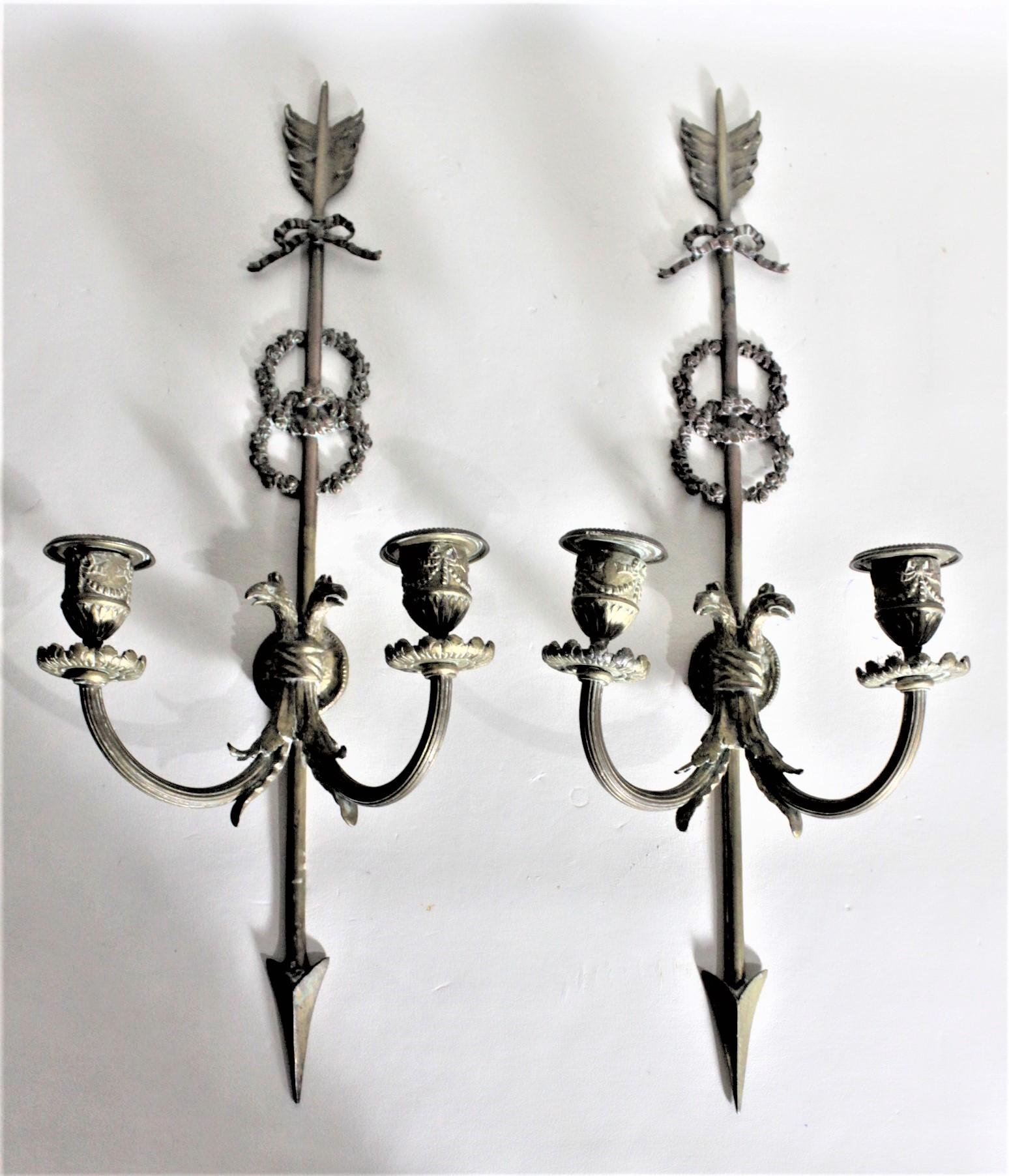 Image of: Pair Of Ornate Antique Cast Bronze Wall Sconces Candle Holders With Bird Motif At 1stdibs