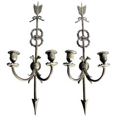 Pair of Ornate Antique Cast Bronze Wall Sconces / Candle Holders with Bird Motif