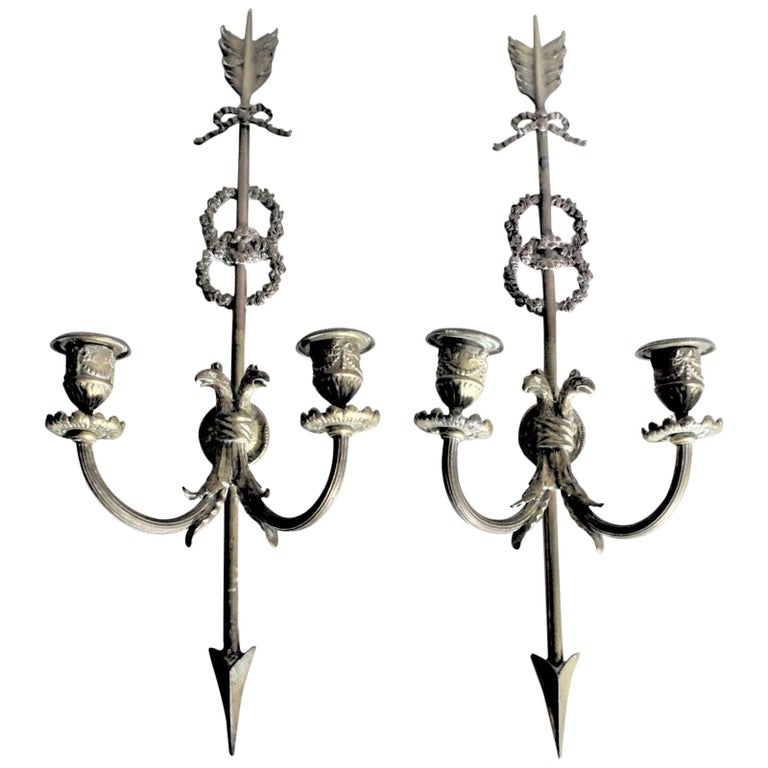 Pair of Ornate Antique Cast Bronze Wall Sconces / Candle Holders with Bird Motif For Sale