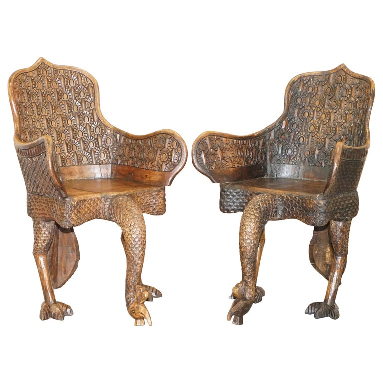 Pair of Ornate Burmese Anglo Indian Hand Carved circa 1880 Peacock Armchairs For Sale