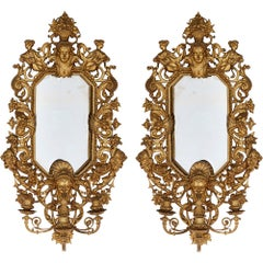 Pair of Ornate French Gilt Bronze Wall Mirrors