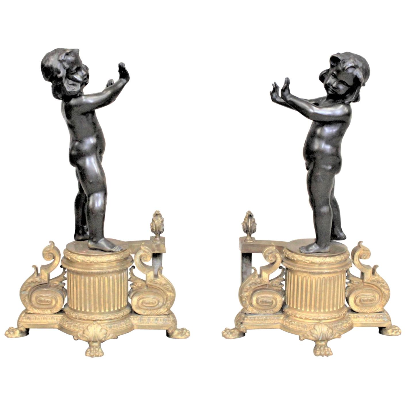 Pair of Ornate French Patinated and Gilt Bronze Figural Chenets or Andirons