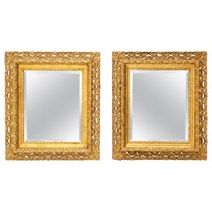Pair of Ornate Gold Giltwood Framed Mirrors