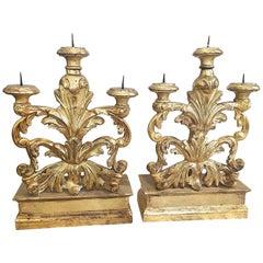 Pair of Ornate Italian Florentine Candelabra in Mecca Gilt Carved Wood