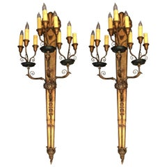 Pair of Ornate Nine-Light Candelabras Wall Sconces