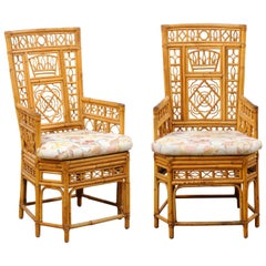 Pair of Ornately Designed Bamboo Occasional High-Back Armchairs