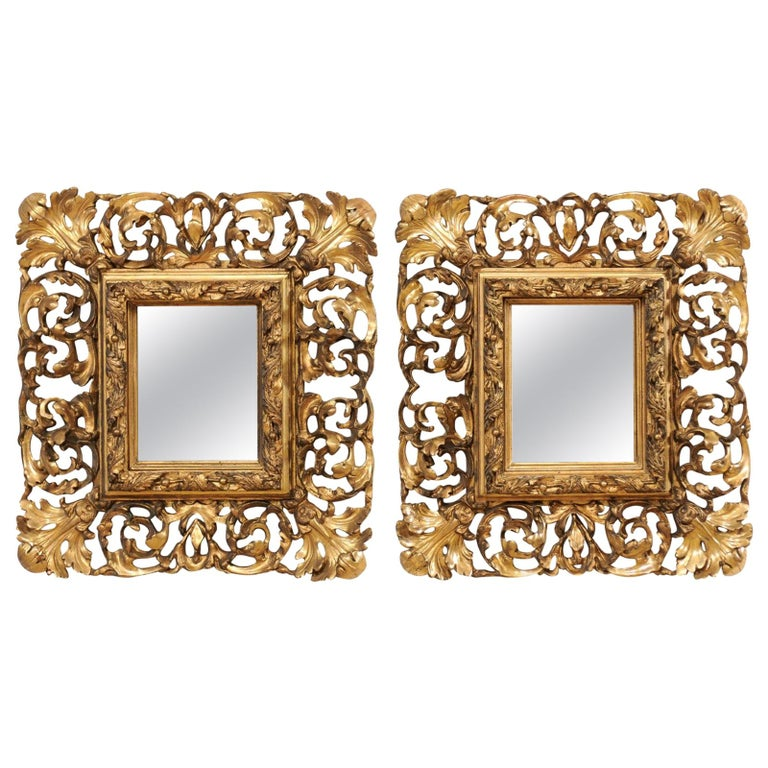 Pair of Ornately Pierce-Carved and Giltwood Rococo Mirrors, Early 19th Century For Sale