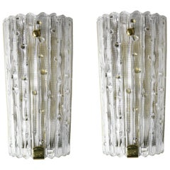 Pair of Orrefors Crystal and Brass Sconces by Carl Fagerlund, Sweden, 1950