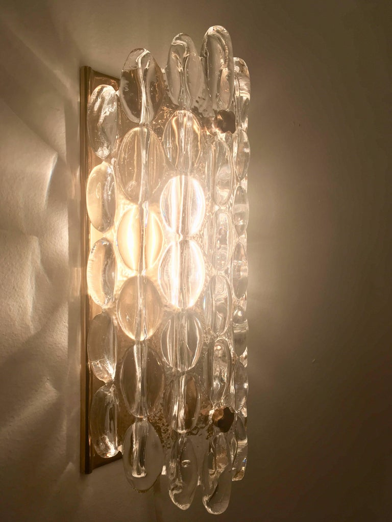 Pair of Orrefors Crystal Bubble Wall Lights 1950s Carl Fagerlund Swedish For Sale 4