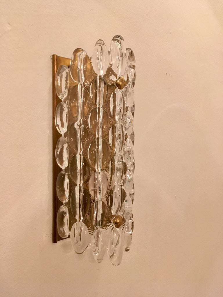 Pair of Orrefors Crystal Bubble Wall Lights 1950s Carl Fagerlund Swedish In Excellent Condition For Sale In New York, NY