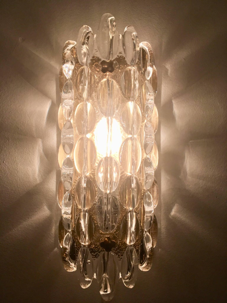 Pair of Orrefors Crystal Bubble Wall Lights 1950s Carl Fagerlund Swedish For Sale 3