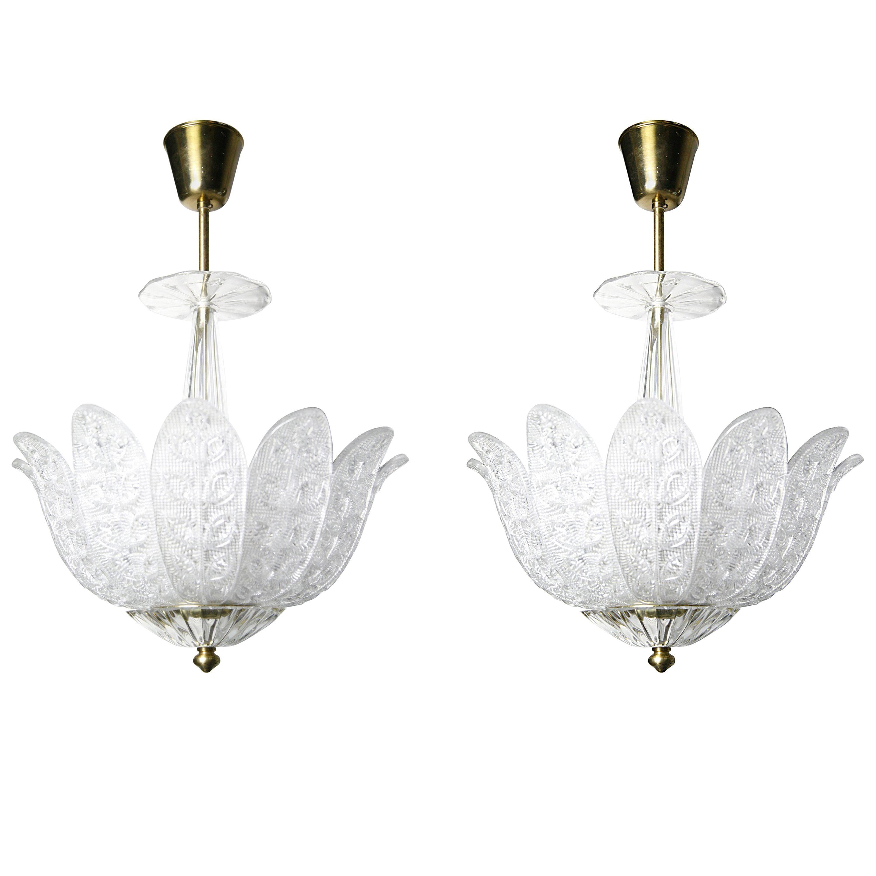Pair of Orrefors Crystal Chandeliers in the Shape of Leaves, Sweden, 1960