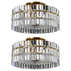 Pair of Orrefors Crystal Flushmounts Designed by Carl Fagerlund, 1970, Sweden