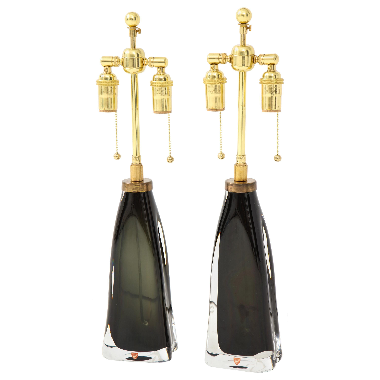 Pair of Orrefors Crystal Lamps