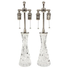 Pair of Orrefors Crystal Lamps