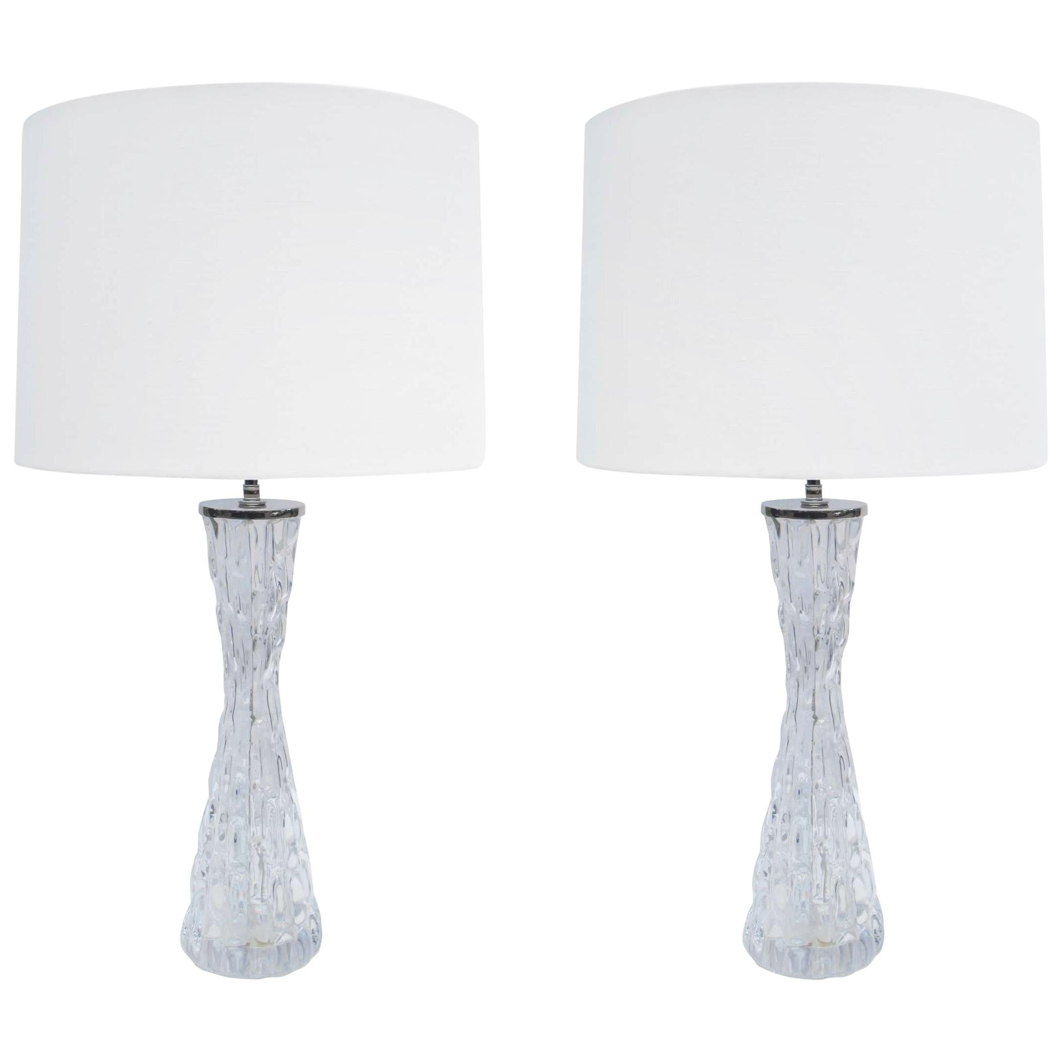 Pair of Orrefors Crystal Table Lamps