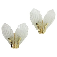 Pair of Orrefors Fagerlund Double Leaf Wall Sconces in Glass and Brass, 1960s