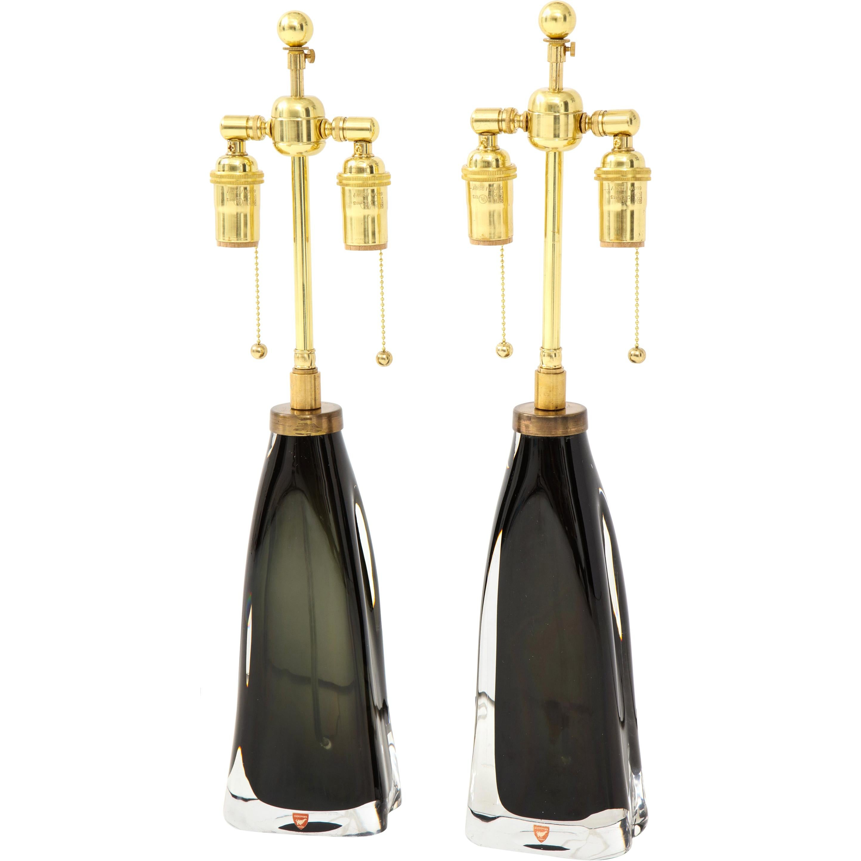 Pair of Orrefors Forest Green Crystal Lamps