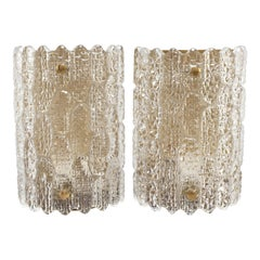 Pair of Orrefors Glass Wall Sconces by Carl Fagerlund on Brass Wall Plates