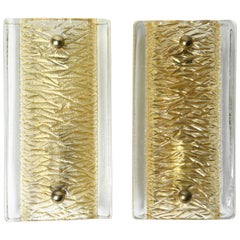 Pair of Orrefors Sconces Brass and Crystal Glass Shades by Orrefors Sweden, 1970