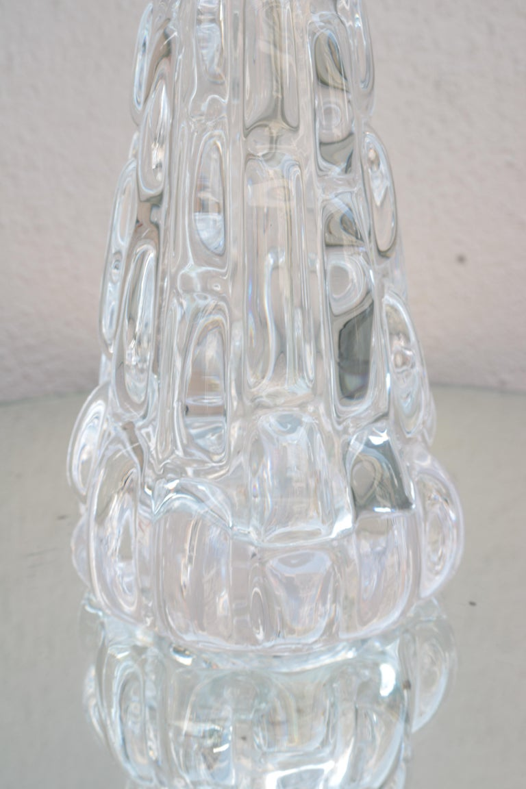 Modern Pair of Orrefors Small Crystal Table Lamps For Sale