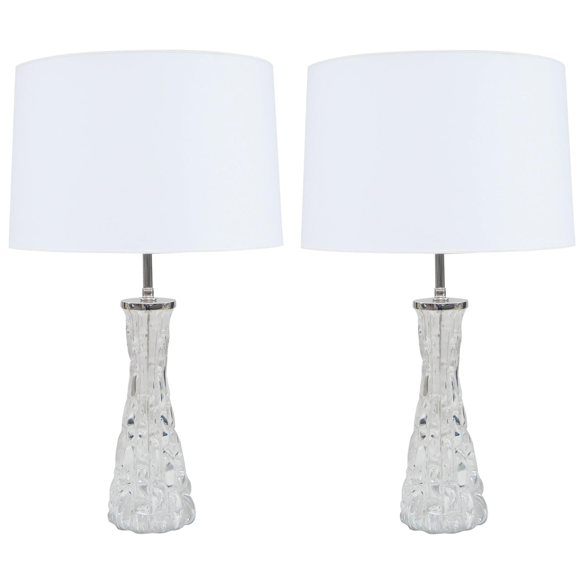 Pair of Orrefors Small Crystal Table Lamps