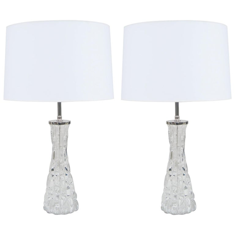 Pair of Orrefors Small Crystal Table Lamps For Sale
