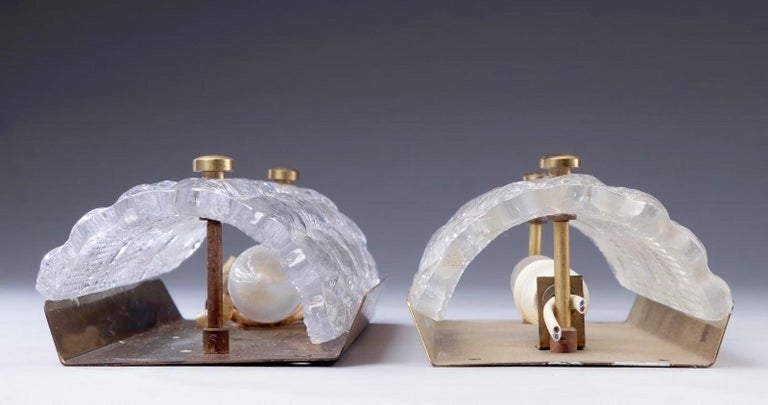 Wall sconces by Orrefors for Lyfa, Gefion in glass and brass,