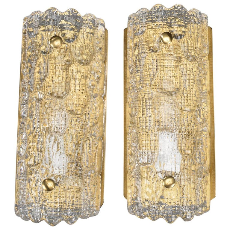 Pair of Orrefors Wall Sconces For Sale